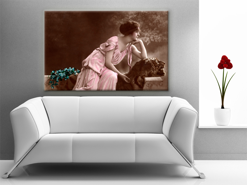 16x10 Digital printed Canvas vintage Old romantic woman photo wall, (size: 16x10 inch plus border).