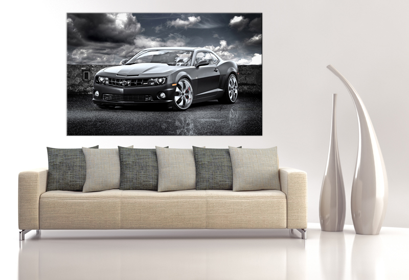 16x10 Digital printed Canvas exotic Chevrolet to your wall, super fast camaro at night on the road (size: 16x10 inch plus border).