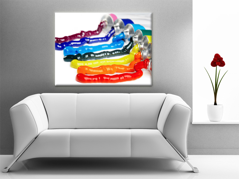 15x11 Digital printed Canvas Ink Tubes to your wall colorful like a rainbow photo (size: 15x11 inch plus border).
