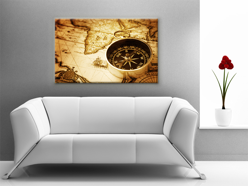 16x10 Digital printed Canvas vintage old map to your wall, old brown atlas (size: 16x10 inch plus border).