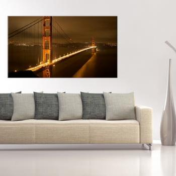 16x10 Digital printed Canvas Golden Gate bridge to your wall, Golden Gate in the evening shines (size: 16x10 inch plus border).