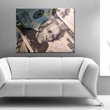 15x11 Digital printed Canvas Andrew Jackson to your wall, USD, USA Dollar money (size: 15x11 inch plus border).