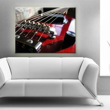15x11 Digital printed Canvas claret guitar to your wall red-claret rock guitar (size: 15x11 inch plus border).