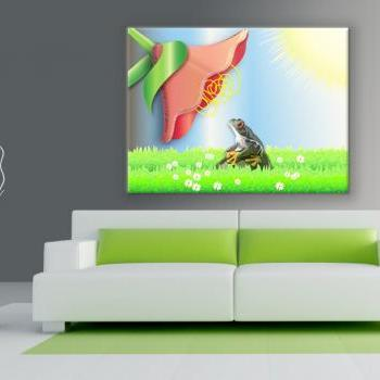 15x11 Digital printed Canvas frog and flower artistic photo (size: 15x11 inch plus border).